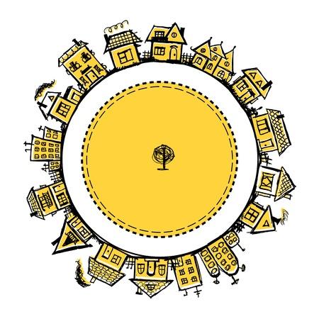 Happy village, telaio con case per il vostro disegno