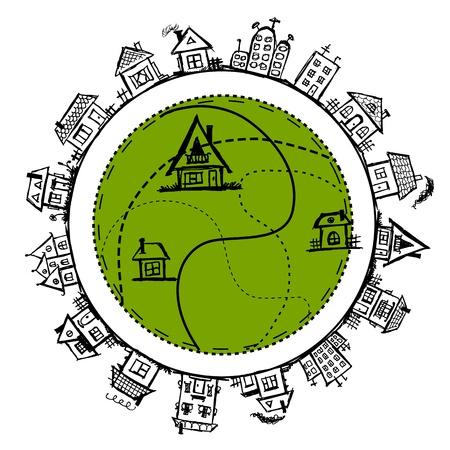 Gelukkig dorp, frame met huizen voor uw ontwerp