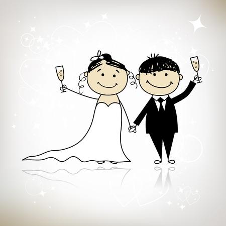 braut und bräutigam: Hochzeitszeremonie - Braut und Br�utigam gemeinsam f�r Ihr design  Illustration