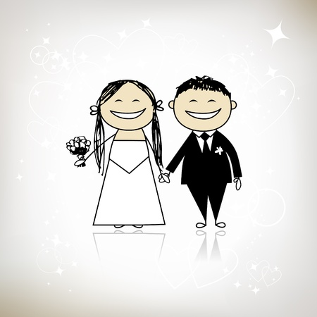 Wedding ceremony - bride and groom together for your design Stock Vector - 9348538