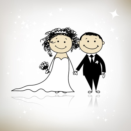 Wedding ceremony - bride and groom together for your design  Vector