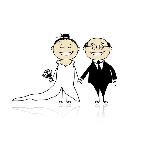Ceremonia de la boda - novios juntos para su diseño