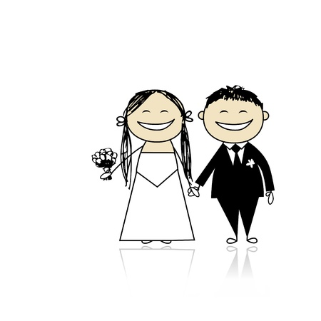 Wedding ceremony - bride and groom together for your design Stock Vector - 9348517