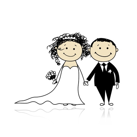 Wedding ceremony - bride and groom together for your design Stock Vector - 9348513