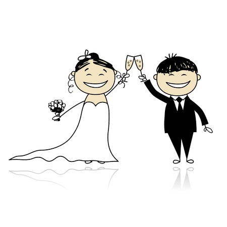 Wedding ceremony - bride and groom together for your design Stock Vector - 9348136