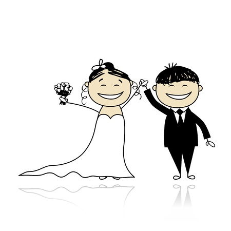 Wedding ceremony - bride and groom together for your design  Stock Vector - 9348500