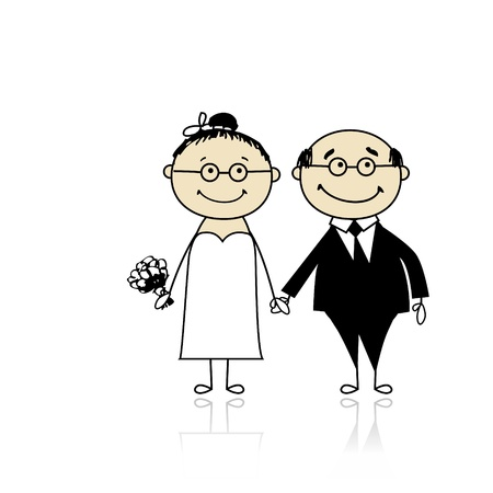 Wedding ceremony - bride and groom together for your design Stock Vector - 9348465