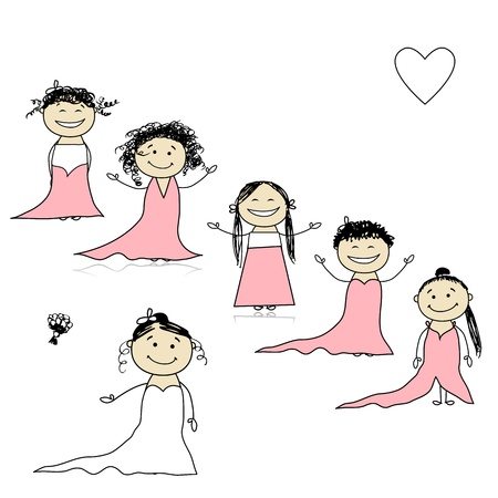 Bride with bridesmaids for your design Stock Vector - 9348468