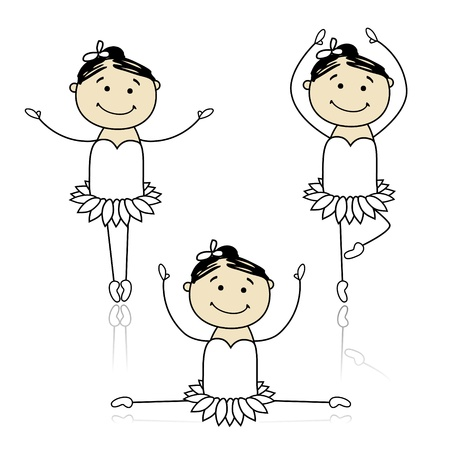 Cute little ballet dancers for your design Vector
