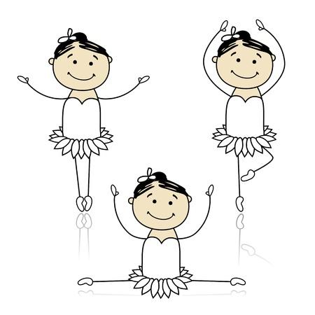 simple girl: Cute little ballet dancers for your design Illustration
