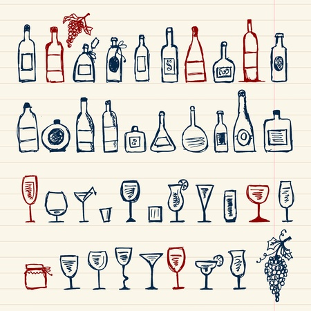 Sketch of alcohol's bottles and wineglasses Stock Vector - 9456768