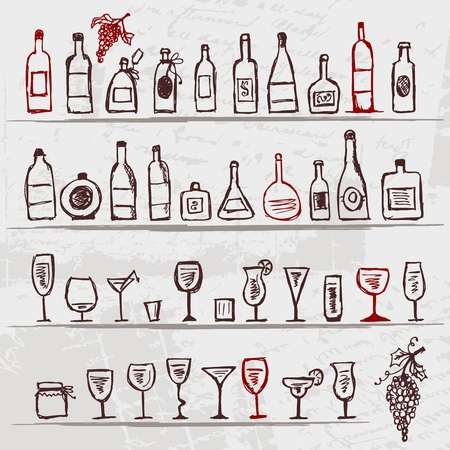 bottle of wine: Set of alcohols bottles and wineglasses on grunge background