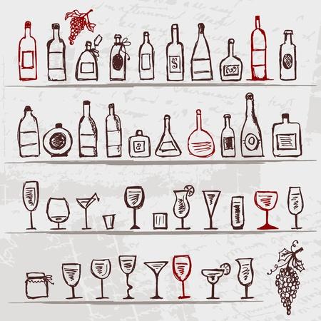 wijn en spijzen: Set van alcohol van flessen en wijnglazen op grunge achtergrond