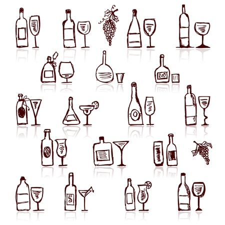 beer and wine: Set of alcohols bottles and wineglasses Illustration