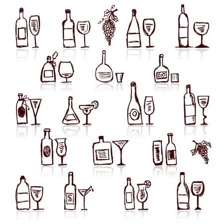 wineglass: Set of alcohols bottles and wineglasses Illustration