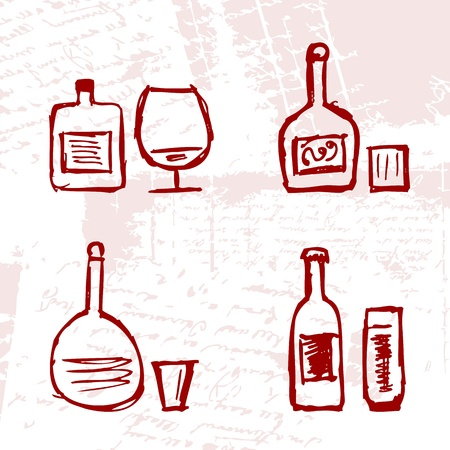 Set of alcohols bottles and wineglasses on grunge background Vector