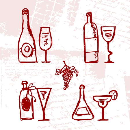 alcoholic beverage: Set of alcohols bottles and wineglasses on grunge background