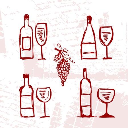wine list: Set of alcohols bottles and wineglasses on grunge background