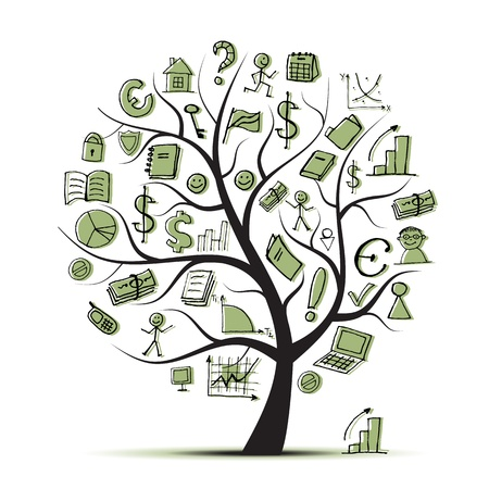 Art tree concept with business icons for your design Stock Vector - 9456776