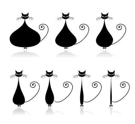 silueta gato negro: Etapas de la dieta, gato negro divertido para el diseño
