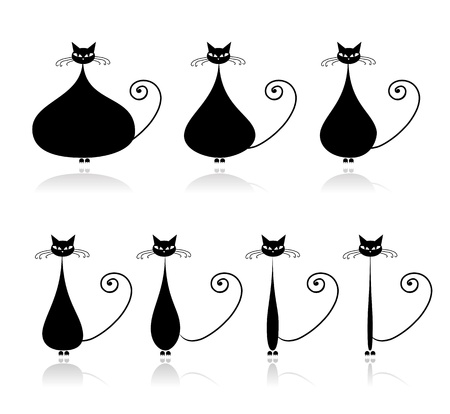 diet cartoon: Stages of diet, funny black cat for your design