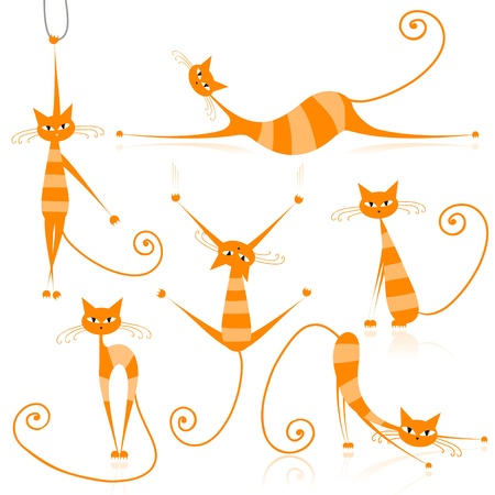 whiskers: Graceful orange striped cats for your design  Illustration