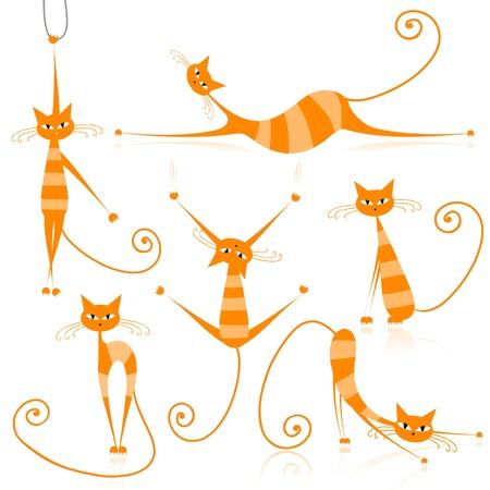 bigodes: Graceful orange striped cats for your design  Ilustração