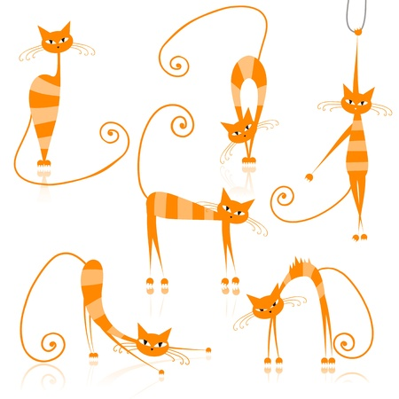 striped: Graceful orange striped cats for your design  Illustration