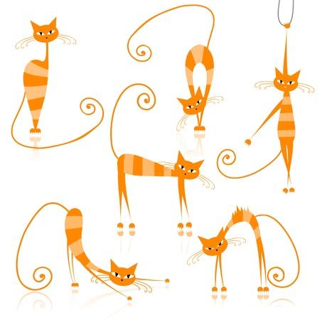 tigrato: Graziosi gatti a righe arancione per il vostro disegno