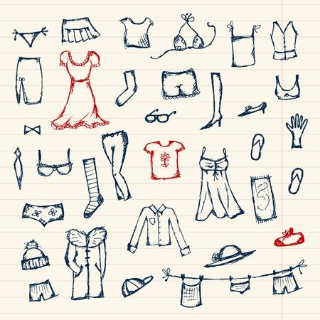 ropa de beb�: Colecci�n de esbozo de ropa para el dise�o Vectores