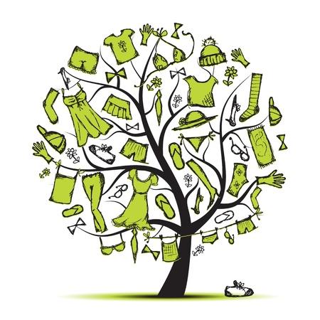 Armario, ropa en árbol para su diseño