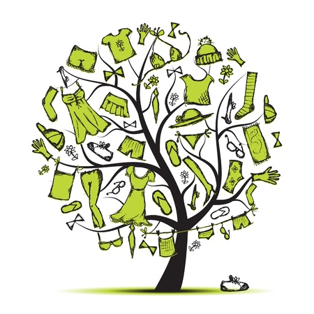 гардероб: Wardrobe, clothes on tree for your design