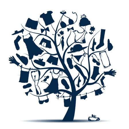 Garderobe, kleding op boom voor uw ontwerp