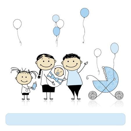 bocetos de personas: Feliz cumplea�os, padres con hijos, reci�n nacido