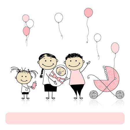 brother and sister cartoon: Happy birthday, parents with children, newborn baby