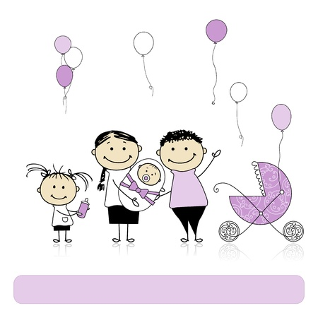 genitore figlio: Buon compleanno, i genitori con figli, neonato Vettoriali