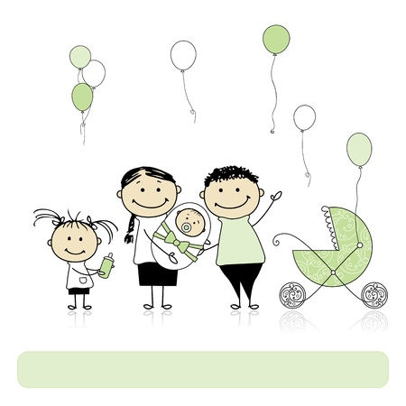 buggy: Happy birthday, parents with children, newborn baby