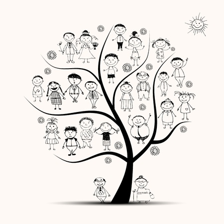 Family tree, relatives, people sketch Vector