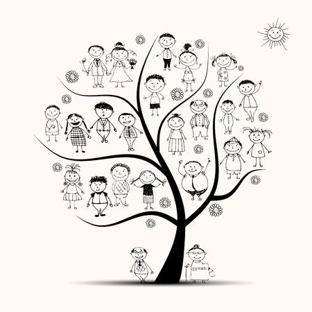arbol geneal�gico: �rbol de familia, parientes, esbozo de personas