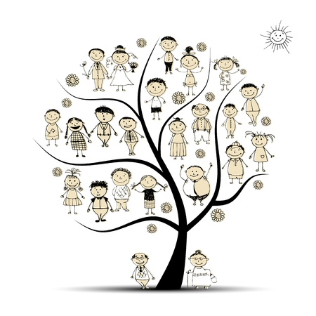 kin: Family tree, relatives, people sketch Illustration