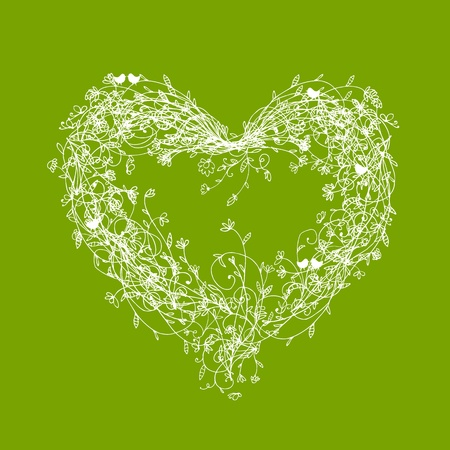 White floral frame, heart shape on green Vector