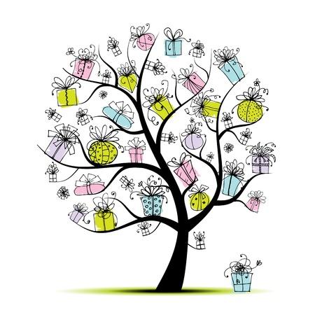 Holiday Boom met geschenkdozen voor uw ontwerp Vector Illustratie