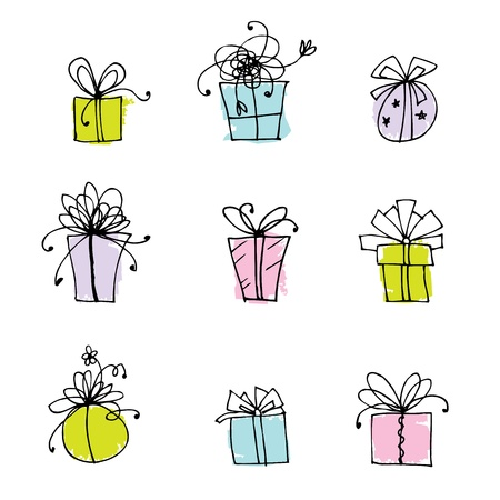 blue gift box: Gift box icons for your design