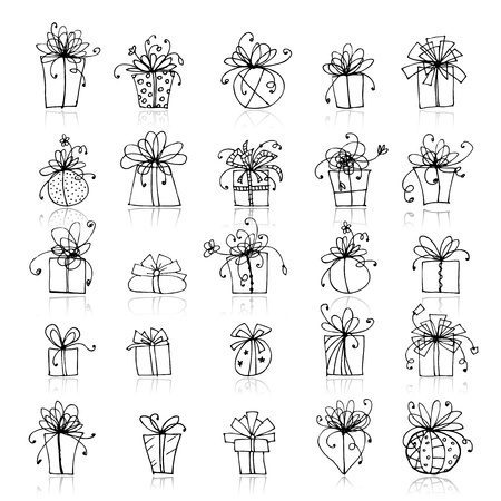 gift parcel: 25 gift box icons for your design
