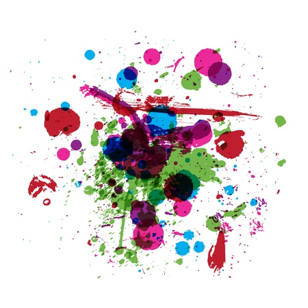 paintball: Colorful drops of paint, grunge background for your design Illustration