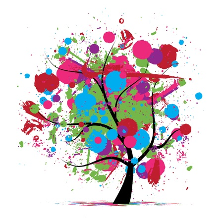 paintball: Funny grunge tree, colors of summer for your design Illustration