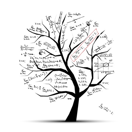 cartoon math: Math tree for your design Illustration