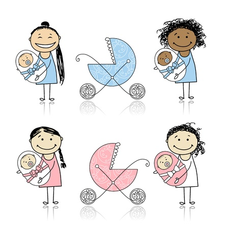 pacifier: Mother walking with buggy, newborn baby  Illustration