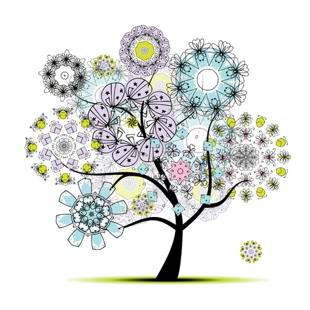 Floral art tree for your design Vector