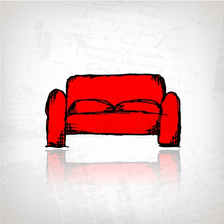Red sofa on grunge background for your design Vector